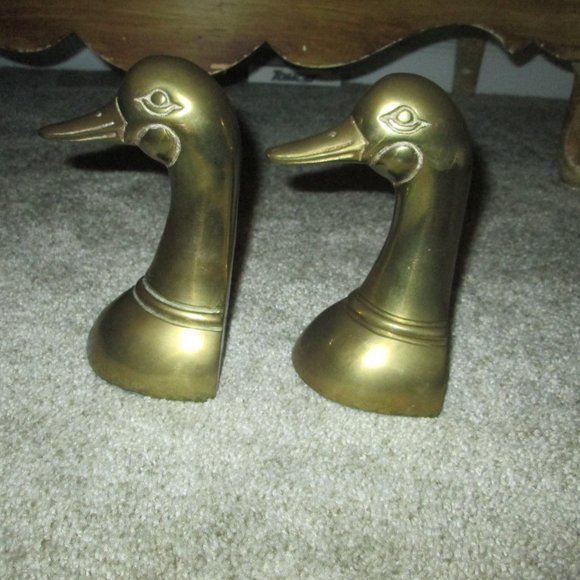 Pair of Andrea Brass Duck Head Bookends